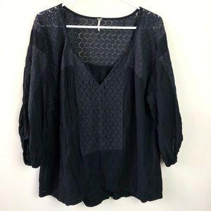 Free People Shirt Size M Boho 3/4 Sleeve Tunic